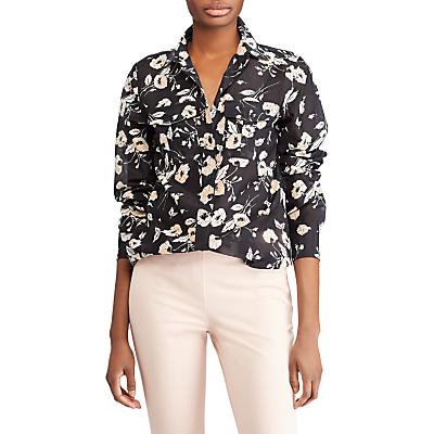 Lauren Ralph Lauren Courtenay Long Sleeve Shirt, Black/Peach