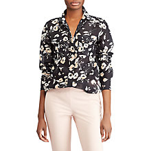 Buy Lauren Ralph Lauren Courtenay Long Sleeve Shirt, Black/Peach Online at johnlewis.com
