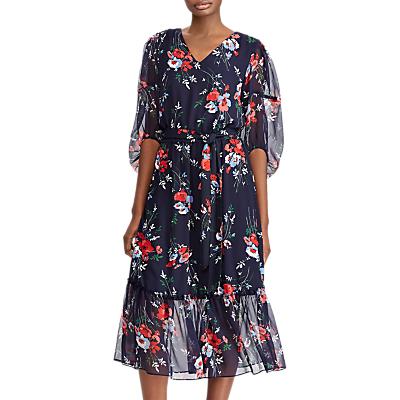Lauren Ralph Lauren Dinalou Floral Georgette Midi Dress, Signature Red