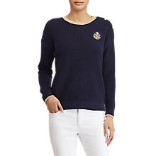 Buy Lauren Ralph Lauren Bullion Patch Cotton Jumper, Navy/Gold Online at johnlewis.com