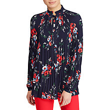 Buy Lauren Ralph Lauren Duong Floral Pleated Georgette Top, Multi Online at johnlewis.com
