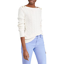 Buy Lauren Ralph Lauren Lin Cable Knit Jumper, Mascarpone Cream Online at johnlewis.com