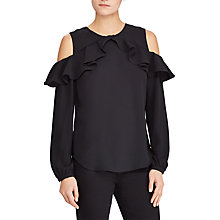 Buy Lauren Ralph Lauren Kinsun Cold Shoulder Ruffle Top, Polo Black Online at johnlewis.com