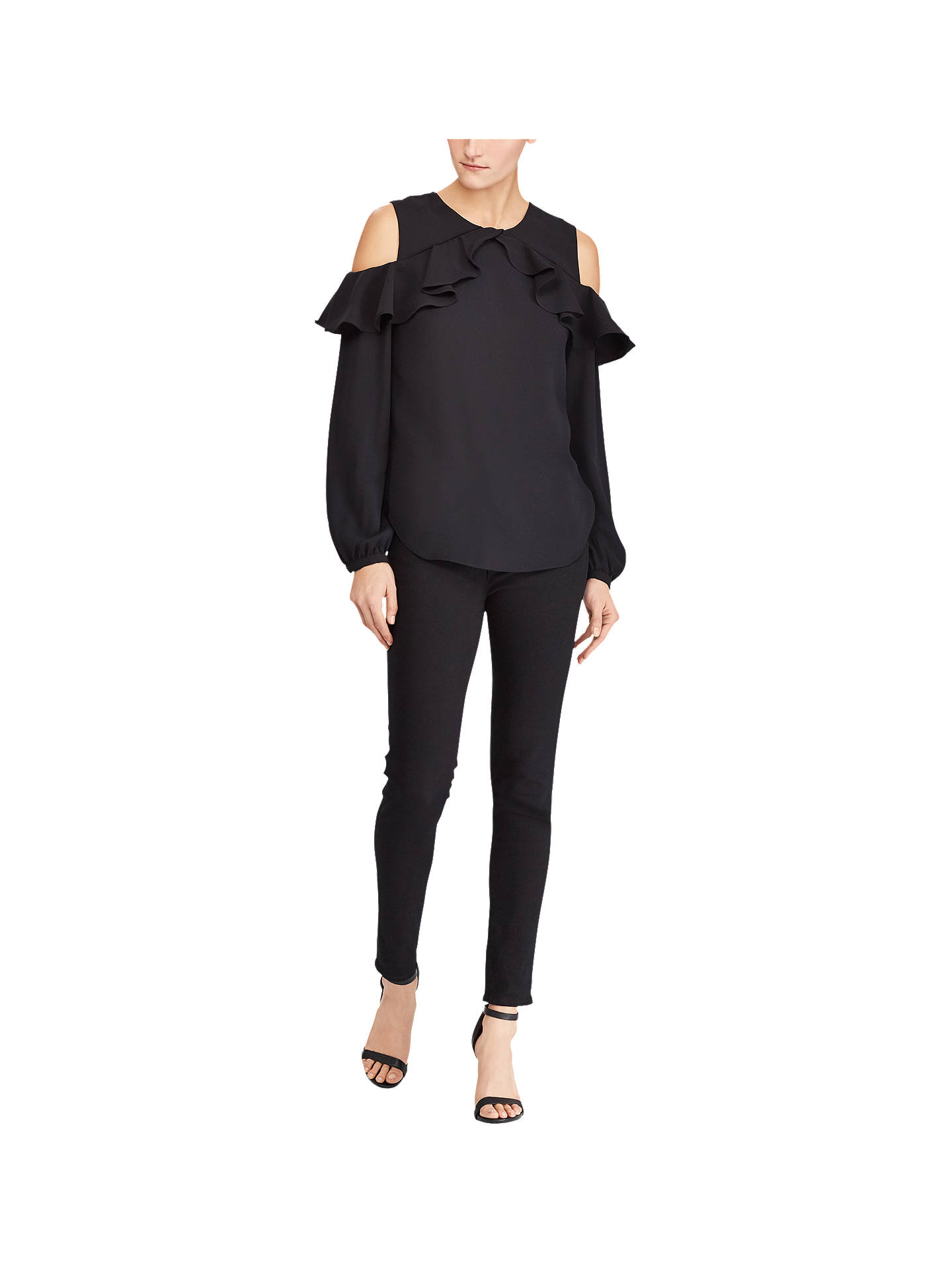 BuyLauren Ralph Lauren Kinsun Cold Shoulder Ruffle Top, Polo Black, XS Online at johnlewis.com