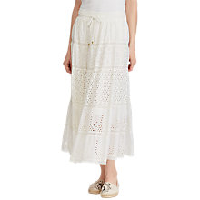 Buy Lauren Ralph Lauren Lorelei Maxi Skirt, White Online at johnlewis.com