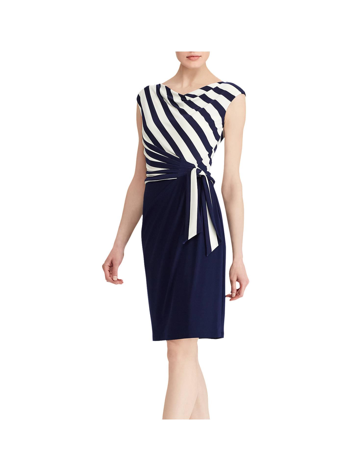 Lauren Ralph Sadira Cap Sleeve Day Dress Navy White 6 Online At