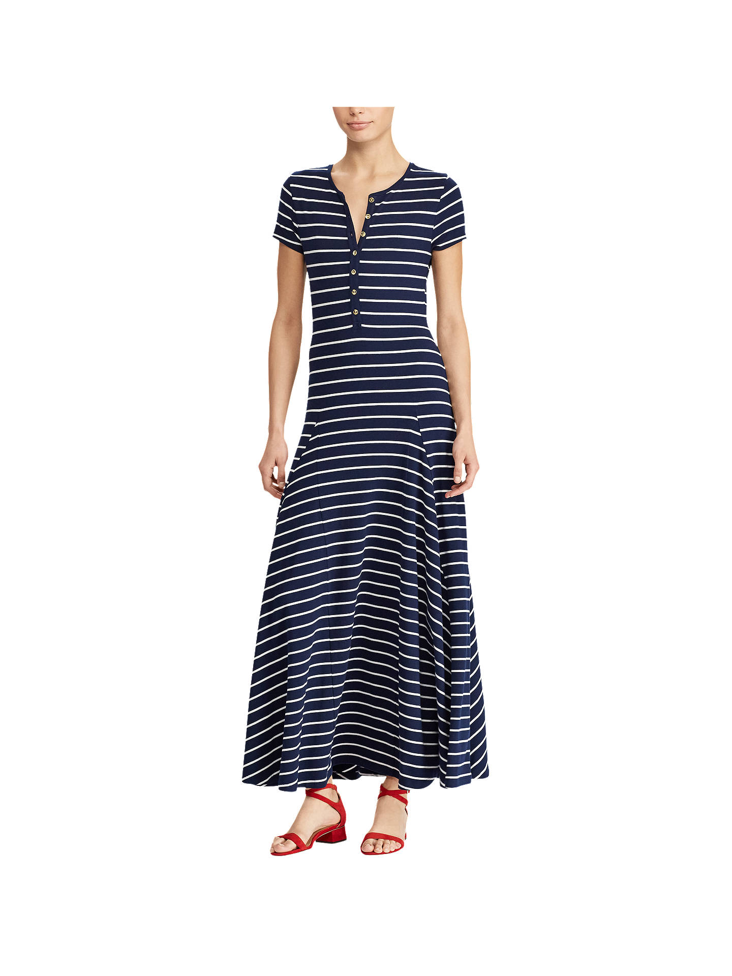 BuyLauren Ralph Lauren Wolford Casual Striped Dress, Navy/White, XS Online at johnlewis.com