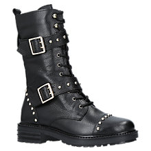 Buy Kurt Geiger Sting Biker Boots, Black Leather Online at johnlewis.com
