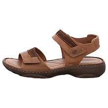 Buy Josef Seibel Debra 19 Rip Tape Flat Sandals, Brown Leather Online at johnlewis.com