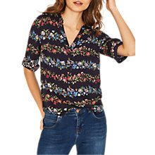 Buy Oasis Ditsy Tie Sleeve Shirt, Multi Blue Online at johnlewis.com