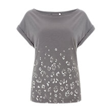 Buy Mint Velvet Leopard Foil Print T-Shirt, Grey Online at johnlewis.com