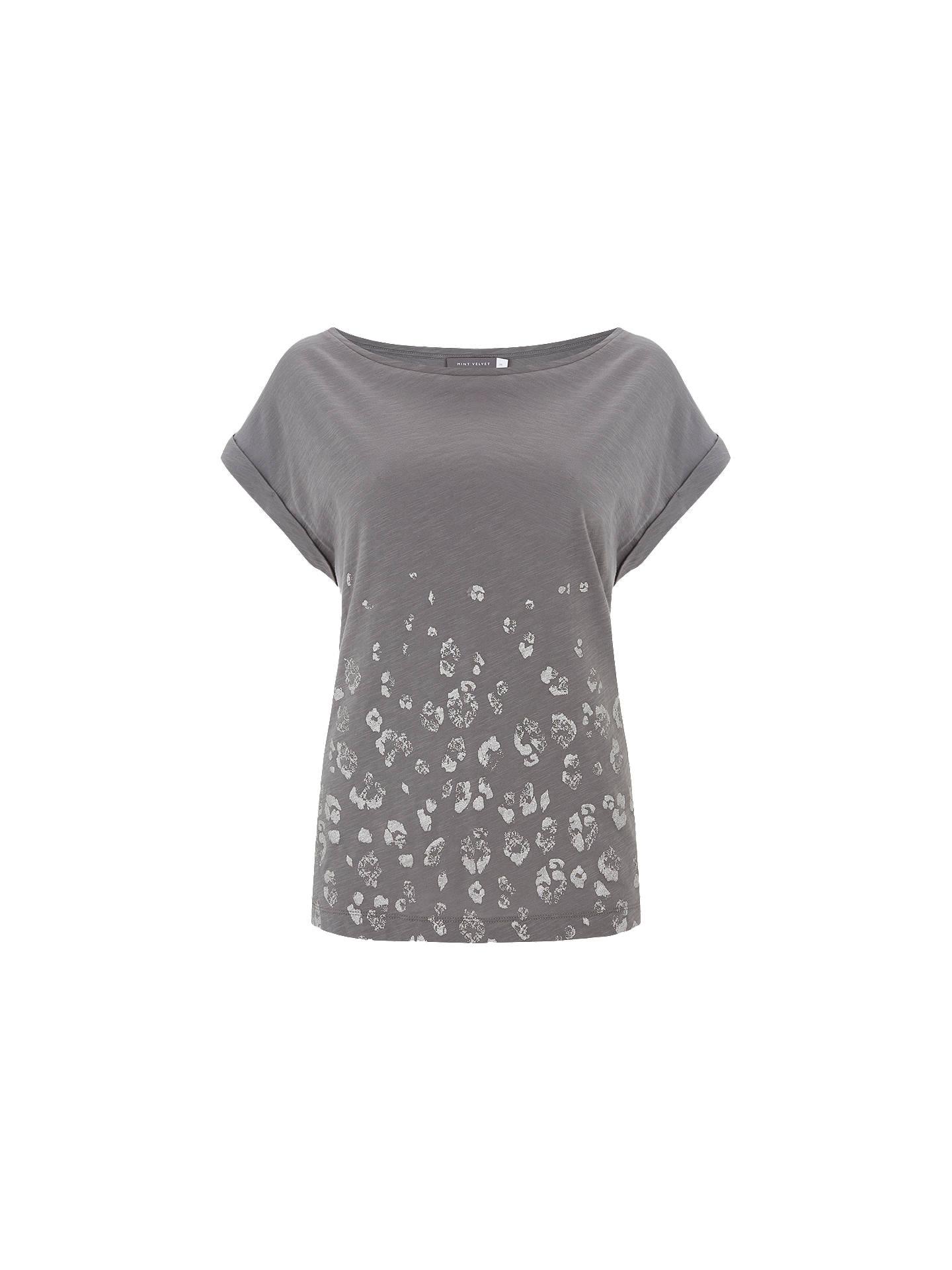 96a727816868 Buy Mint Velvet Leopard Foil Print T-Shirt, Grey, XS Online at johnlewis ...