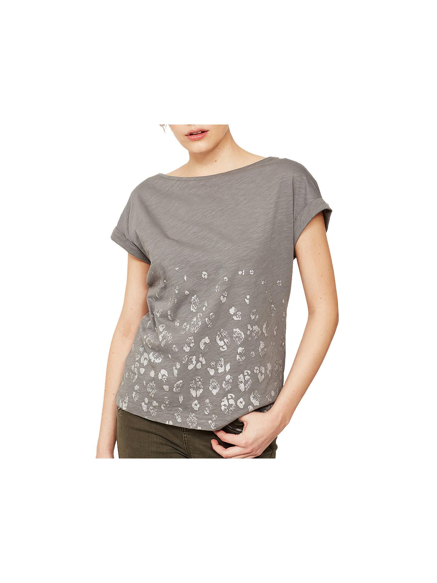 b261eeb3a1a9 ... Buy Mint Velvet Leopard Foil Print T-Shirt, Grey, XS Online at johnlewis