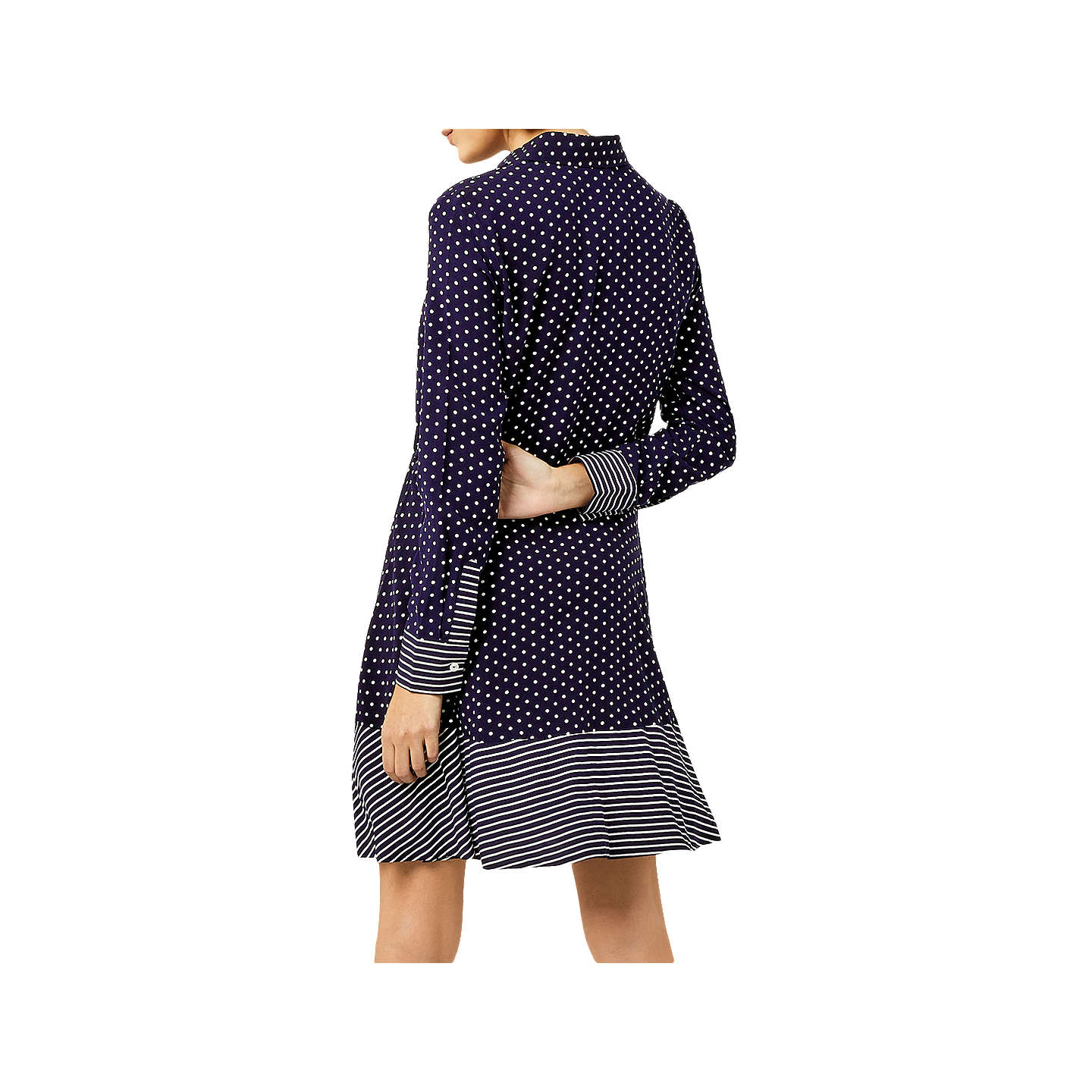 BuyWarehouse Stripe And Spot Shirt Dress, Blue, 6 Online at johnlewis.com