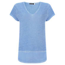 Buy Mint Velvet Chambray Linen T-Shirt, Light Blue Online at johnlewis.com