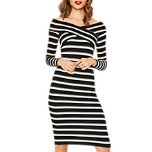 Buy Oasis Wrap Stripe Bardot Dress, Black/Multi Online at johnlewis.com