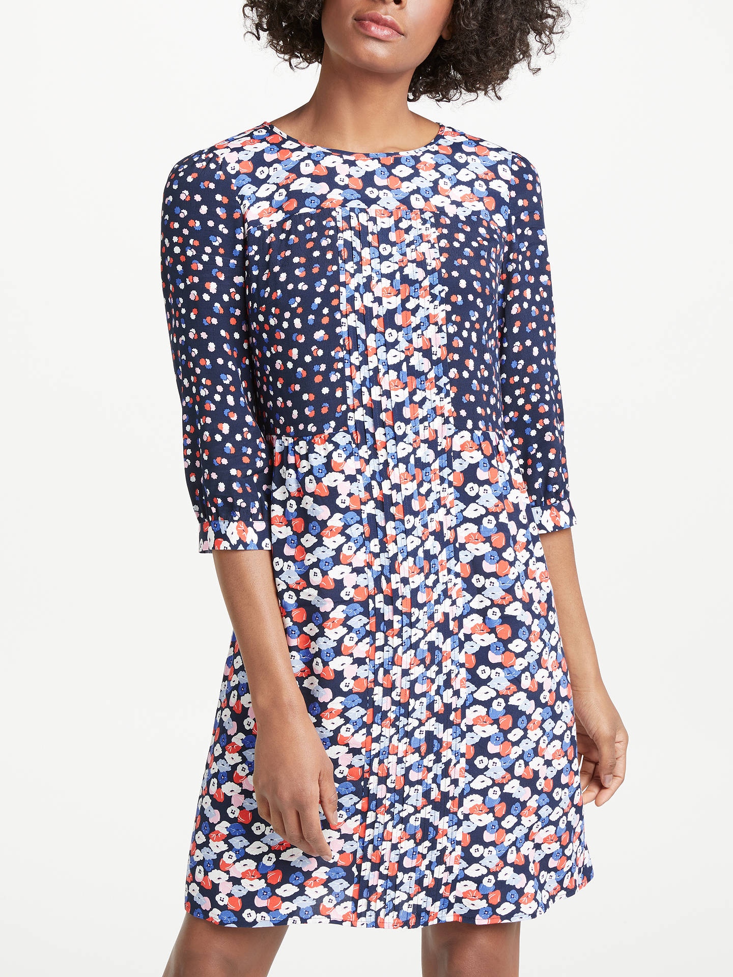 ca53d996edf4 Buy Boden Hotchpotch Poppy Meadow Pintuck Dress, Navy/Multi, 8 Online at  johnlewis ...