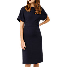 Buy Warehouse Crepe Belted Wiggle Dress, Navy Online at johnlewis.com