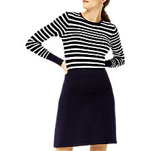 Buy Warehouse Stripe Pointelle Jumper Dress, Navy Online at johnlewis.com