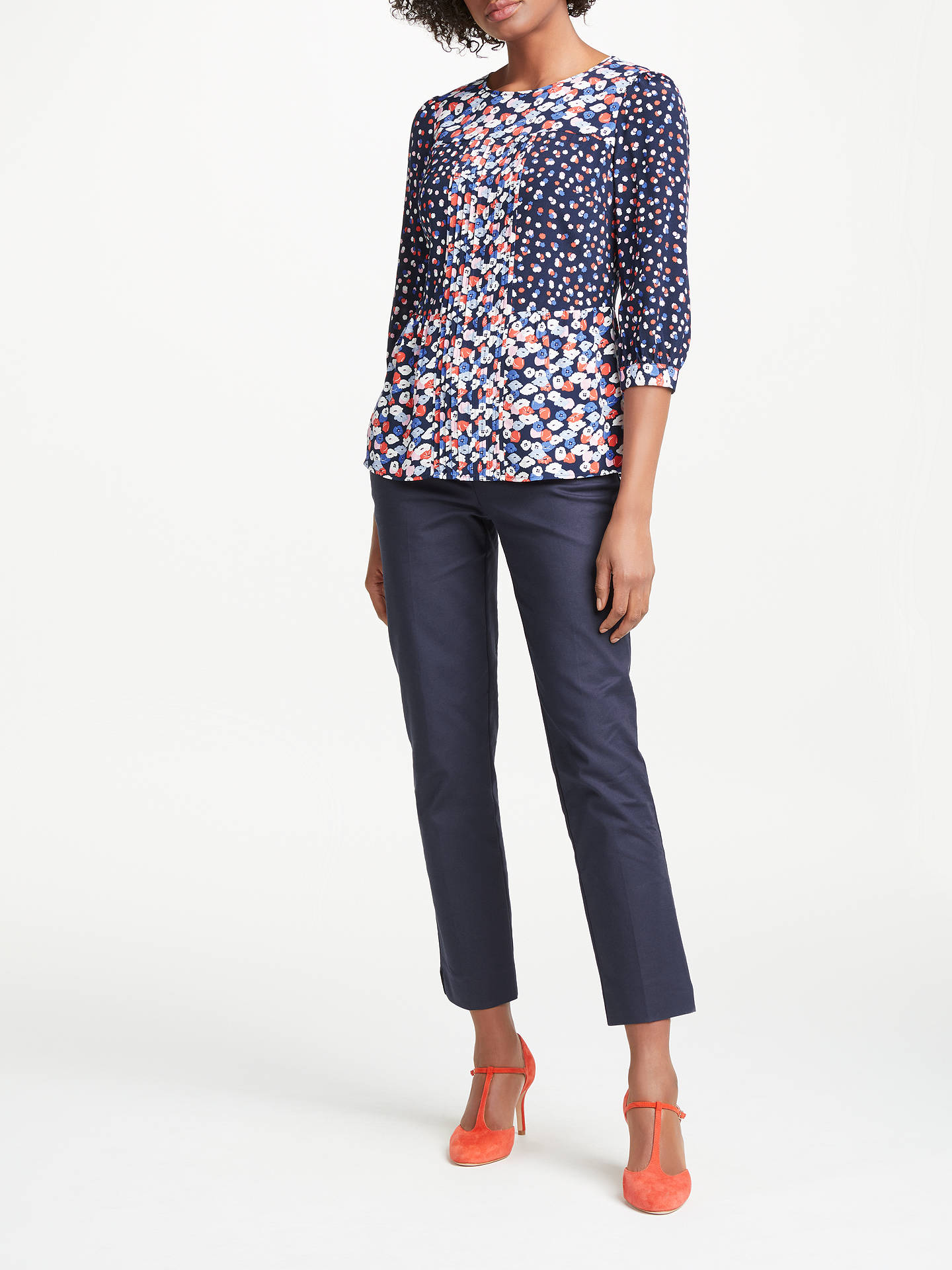 Buy Boden Hotchpotch Poppy Meadow Pintuck Top, Navy/Multi, 8 Online at johnlewis.com