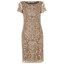 Buy Phase Eight Talia Embroidered Dress, Praline Online at johnlewis.com