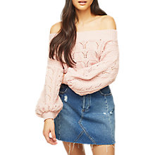 Buy Miss Selfridge Pointelle Bardot Jumper Online at johnlewis.com