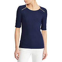 Buy Lauren Ralph Lauren Evejen Jersey Top, Navy Online at johnlewis.com