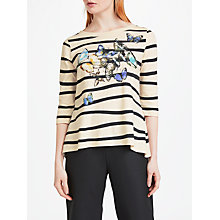 Buy Marc Cain Butterfly Stripe T-Shirt, Sandstone Online at johnlewis.com