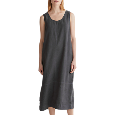 Toast Linen U-Neck Dress, Asphalt