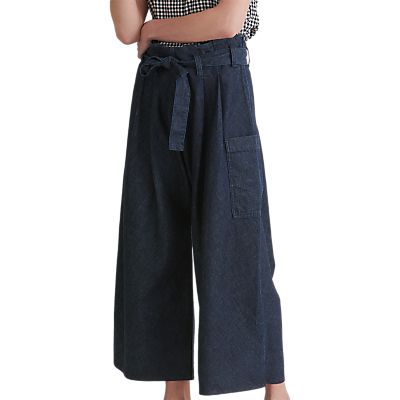 Toast Denim Cropped Paperbag Trousers, Indigo