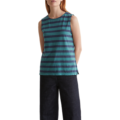 Toast Block Stripe Cotton Vest, Malachite/Sapphire Blue