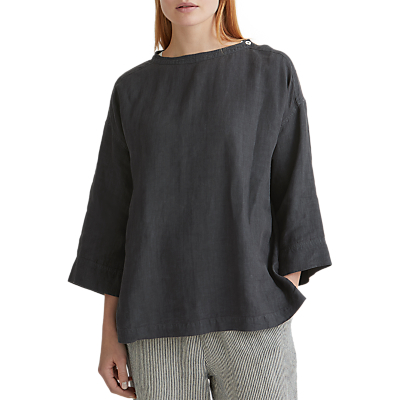 Toast Linen Button Shoulder Top