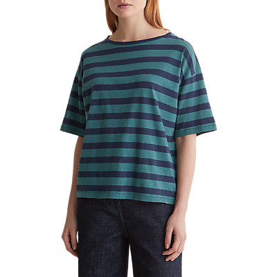 Toast Block Stripe Cotton Boxy T-Shirt, Malachite/Sapphire Blue