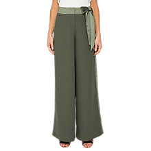 Buy Ted Baker Jaymi Bow Waist Wide Leg Trousers, Dark Green Online at johnlewis.com