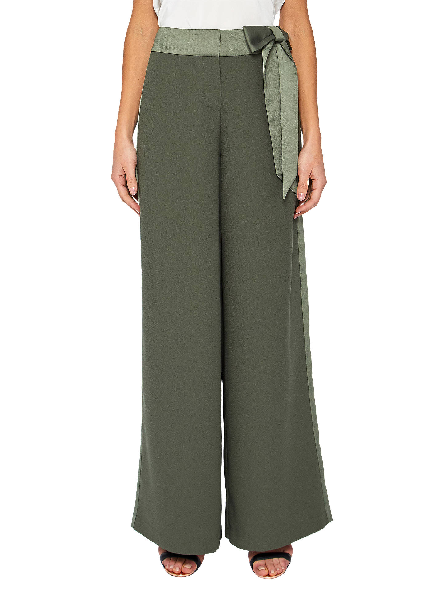888b65a64 Buy Ted Baker Jaymi Bow Waist Wide Leg Trousers, Dark Green, 0 Online at