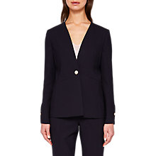 Buy Ted Baker Cerisa Collarless Wool Suit Jacket, Navy Online at johnlewis.com
