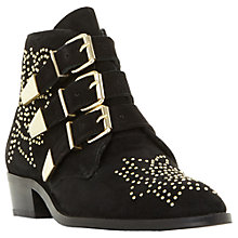 Buy Dune Padilla Buckle Ankle Boots, Black Suede Online at johnlewis.com