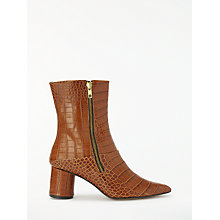 Buy Finery Emilia Block Heel Ankle Boots, Tan Croc Leather Online at johnlewis.com