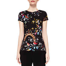 Buy Ted Baker Raynee Opulent Fauna Fitted T-Shirt, Black Online at johnlewis.com