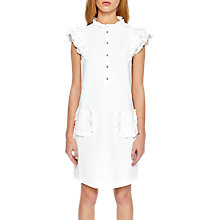 Buy Ted Baker Mickala Crepe Ruffle Detail Tunic Dress, Neutral Online at johnlewis.com