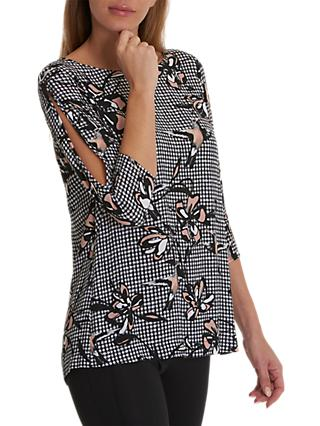 Betty & Co. Gingham Print Tunic Top, Black/Rose