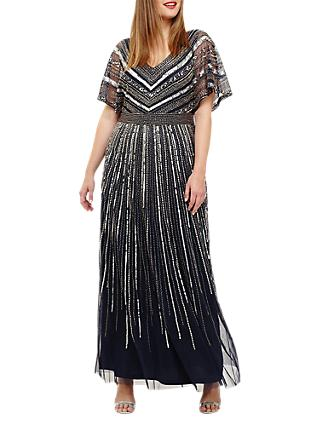 Studio 8 Avalon Beaded Maxi Dress, Navy