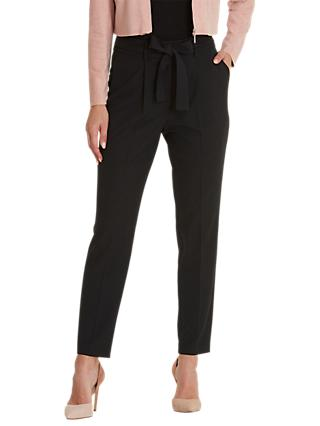 Betty & Co. Crepe Tie Belt Trousers, Black