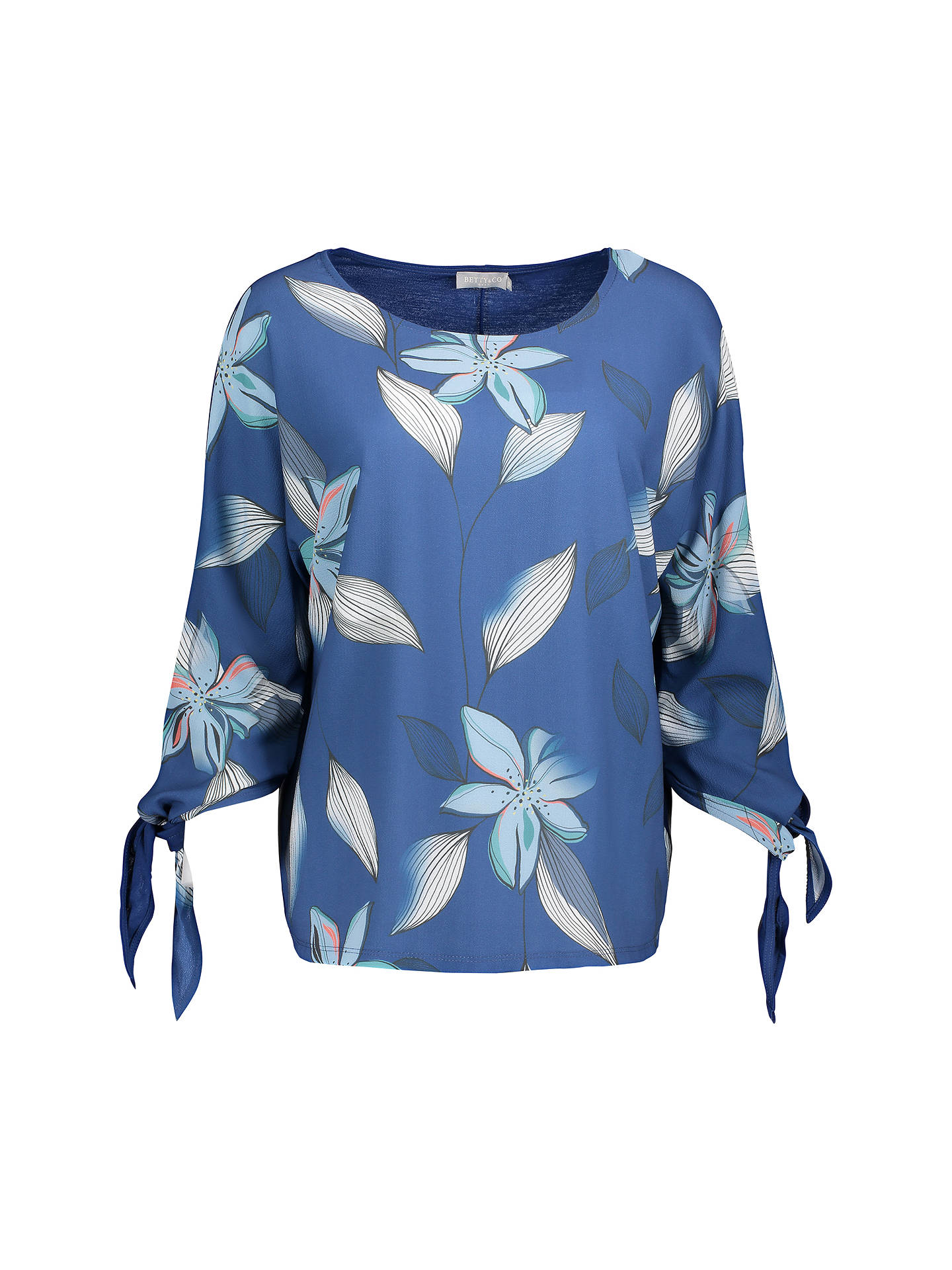 BuyBetty & Co. Floral Print Top, Blue/White, 18 Online at johnlewis.com