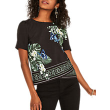 Buy Oasis Kentia Placement T-Shirt, Multi Black Online at johnlewis.com