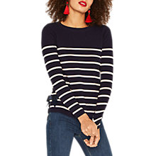 Buy Oasis Breton Stripe Bow Jumper, Blue/Multi Online at johnlewis.com