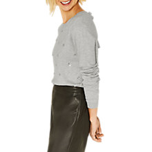 Buy Oasis All Over Embellished Knit Jumper, Mid Grey Online at johnlewis.com