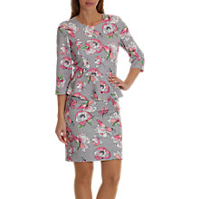 Buy Betty & Co. Floral Print Peplum Dress, Grey/Pink Online at johnlewis.com