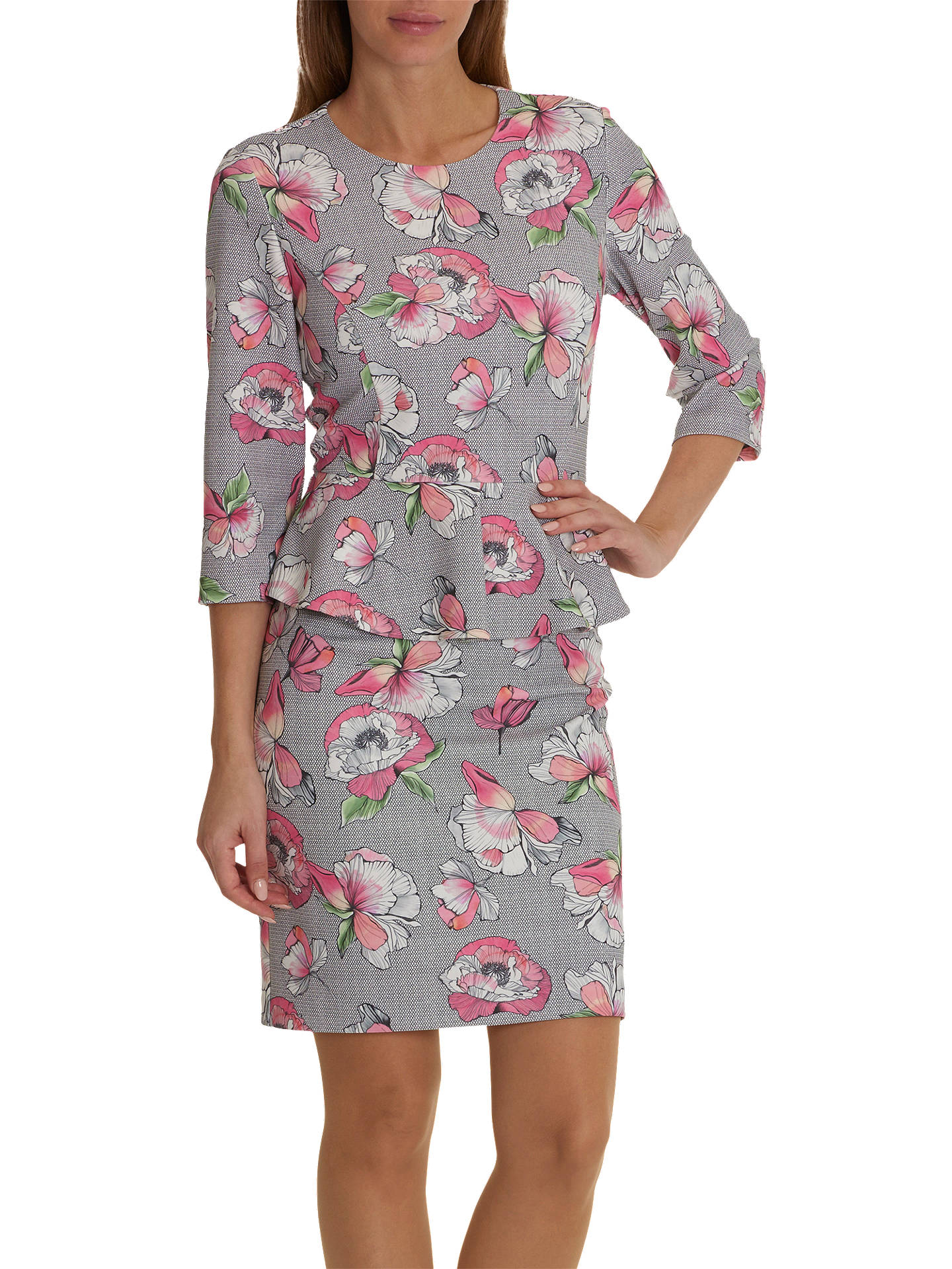 BuyBetty & Co. Floral Print Peplum Dress, Grey/Pink, 12 Online at johnlewis.com