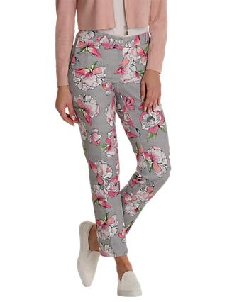 Betty & Co. Floral And Mesh Print Trousers, Grey/Pink